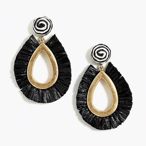 NWT J.CREW RAFFIA STATEMENT EARRINGS BLACK/GOLD